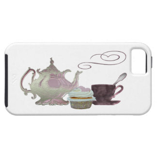 Pink Teapot, Teacup and Cupcake Art Case For The iPhone 5