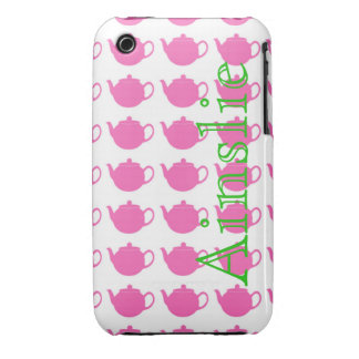 Pink Teapots Personalized in Green iPhone 3 Case-Mate Cases