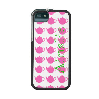 Pink Teapots Personalized in Green iPhone 5 Cover