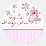 Pink Teddy Baby Shower Sticker