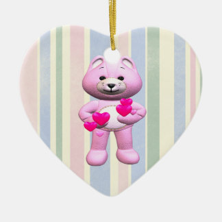 Pink Teddy Bear And Hearts Double-Sided Heart Ceramic Christmas Ornament