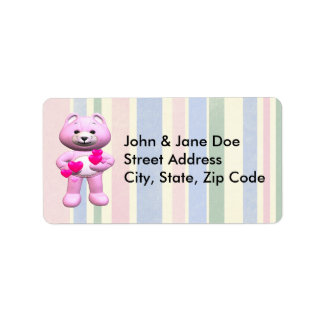 Pink Teddy Bear And Hearts Address Label