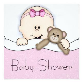 Pink Teddy Bear Baby Girl Shower 13 Cm X 13 Cm Square Invitation Card