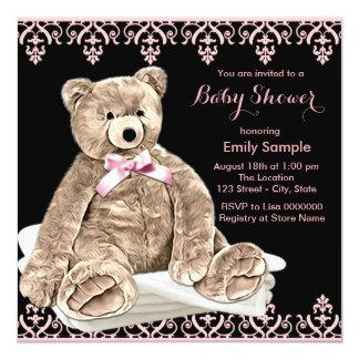 Pink Teddy Bear Baby Shower 13 Cm X 13 Cm Square Invitation Card