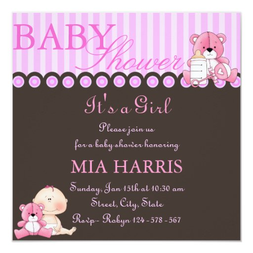 Pink Teddy Bear Baby Shower: Pink Teddy Bear Baby Shower Invitation