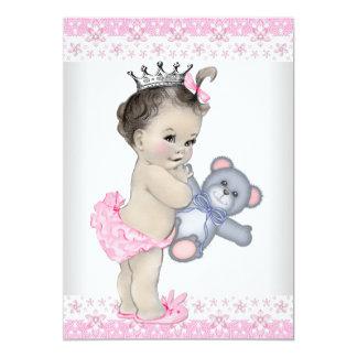 Pink Teddy Bear Baby Shower Custom Announcements