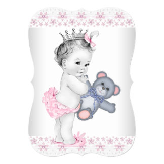 Pink Teddy Bear Baby Shower Announcements