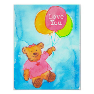 Pink Teddy Bear Balloons Love You Poster