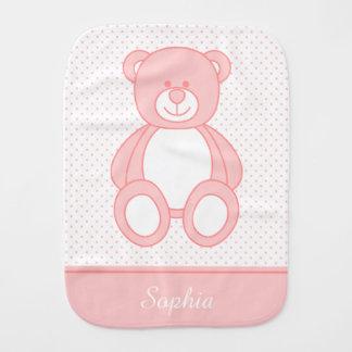 Pink Teddy Bear Burp Cloth
