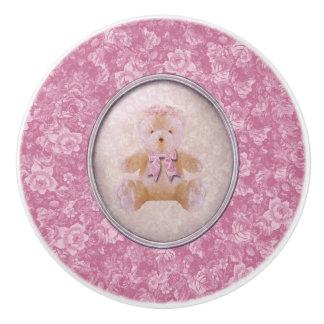 Pink Teddy Bear Ceramic Knob