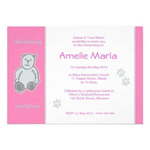 Pink Teddy Bear Christening Invitations