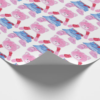 Pink Teddy Bear Drawing Wrapping Paper