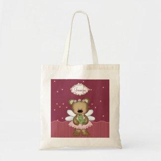Pink Teddy Bear Fairy Princess Budget Tote Bag