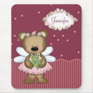 Pink Teddy Bear Fairy Princess Mouse Pad Mouse Pads