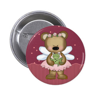 Pink Teddy Bear Fairy Princess Pin Back Buttons