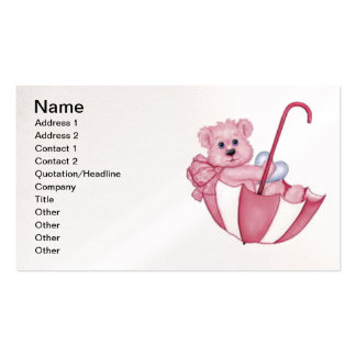 Pink Teddy Bear in Umbrella business cards
