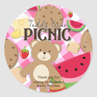 Pink Teddy Bear Picnic Birthday Party Favor Custom Classic Round Sticker