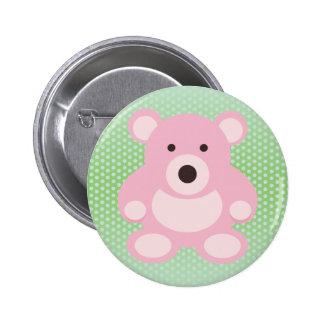 Pink Teddy Bear Pinback Buttons