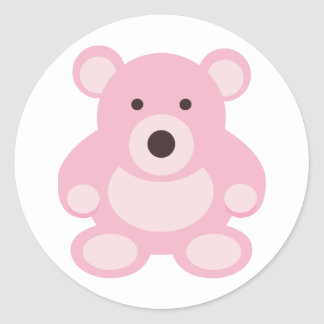 Pink Teddy Bear Round Sticker