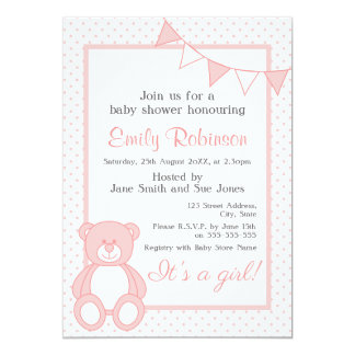 "Pink Teddy Bear Shower Invitation - Girl 5"" X 7"" Invitation Card"