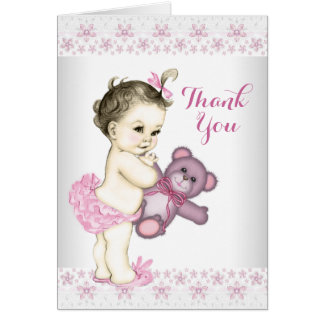 Pink Teddy Bear Thank You Note Card