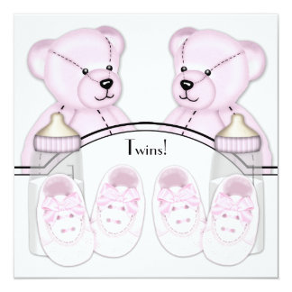Pink Teddy Bear Twin Baby Girl Shower Invitations