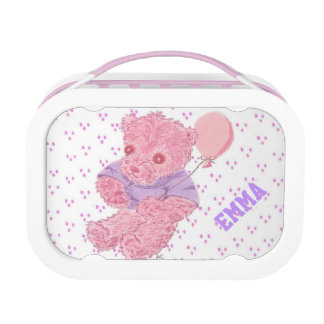 Pink Teddy bear w/ dotted background kid lunch box
