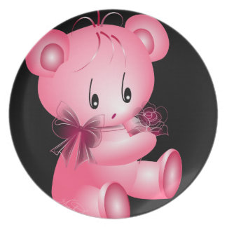 Pink Teddy Bear With Rose Black Background Dinner Plate