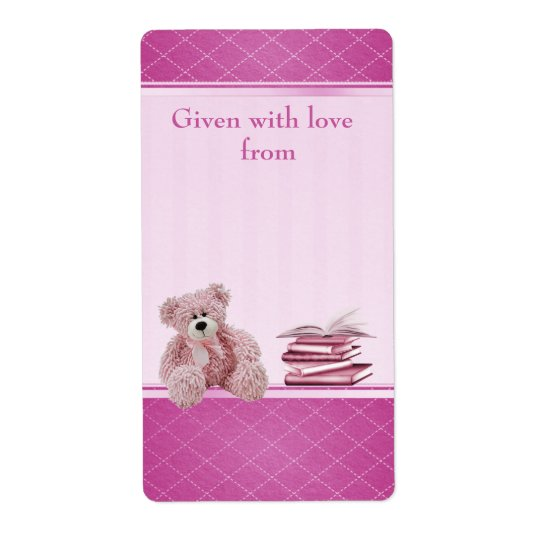 Pink Teddy Bring a Book Baby Shower Bookplates