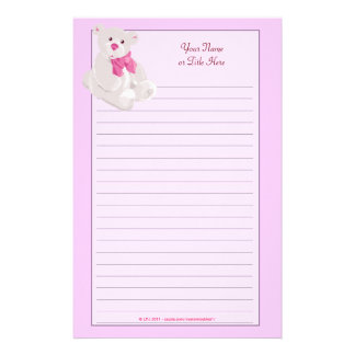 Pink Teddybear Lined Stationery