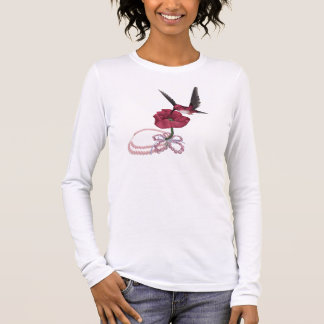 Pink tee-shirt hummingbird long sleeve T-Shirt