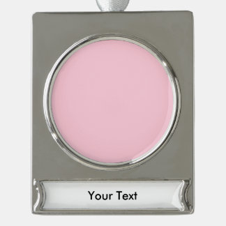 Pink template to Customize with pictures and text Silver Plated Banner Ornament