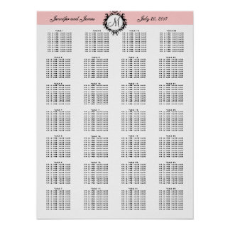Pink Template Wedding Seating Chart 280 Guests