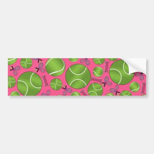 Pink tennis balls rackets and nets bumper stickers