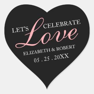 Pink Text + Black Wedding Heart Invite Stickers