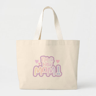 Pink Text I'm a New Mom Large Tote Bag