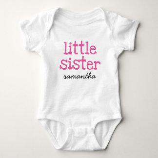 Pink Text Little Sister Custom Add Name Shirt