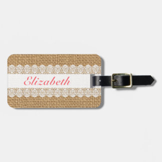 Pink Text Luggage Tag - Monogram Lace Faux Burlap