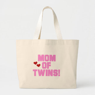 Pink Text Mom of Twins Tote Bags