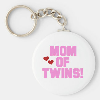 Pink Text Mom of Twins Basic Round Button Key Ring