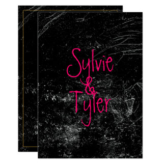 Pink Text on Black Marble Card