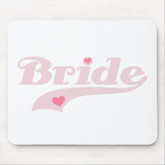 Pink Text with Hearts Bride Mouse Pad