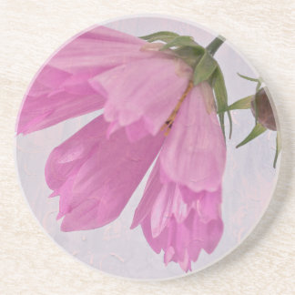 Pink Textured Cosmo Flower Drink Coaster