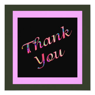 pink Thank You 13 Cm X 13 Cm Square Invitation Card