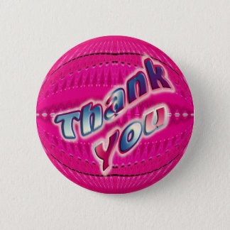 Pink Thank You 6 Cm Round Badge