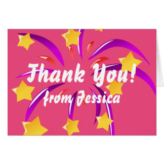 Pink Thank You Card with Fireworks, Personalized