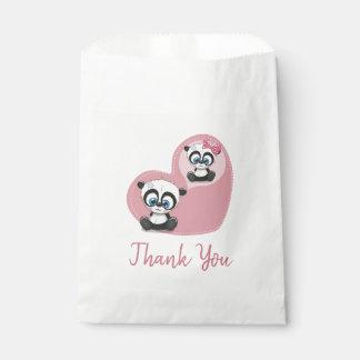 Pink Thank You Panda Teddy Bear Wedding Party Favour Bag