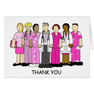 Pink Thank you to breast cancer medical team. Greeting Card