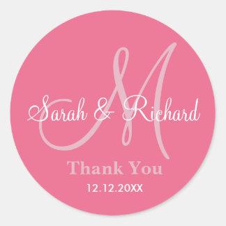 Pink Thank You Wedding Monogram Sticker