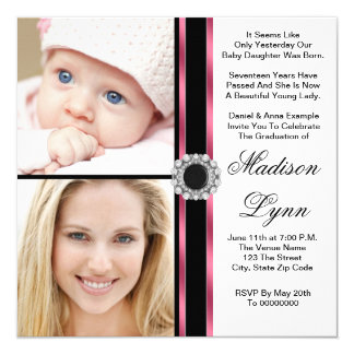 Pink Then and Now Photo Graduation 13 Cm X 13 Cm Square Invitation Card